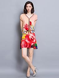 Ample Robe Aux femmes Sortie / Grandes Tailles Sophistiqué,Fleur Col en V Au dessus du genou Manches Courtes Rouge / Orange Rayonne Eté