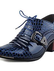 Синий-Мужской-Для офиса Для вечеринки / ужина Work & Safety-Лакированная кожа-На толстом каблуке-Удобная обувь В ковбойском стиле