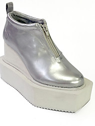 The New Punk Lolita 11 Silver Lolita Wedge Shoe Leather