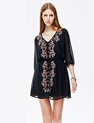 heartsoul женщин выходить простые свободные платья, цветочные V шеи выше колена ¾ рукав черный полиэстер летом