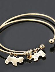 Dog Pendant Gold/Silver Cuff Bangle Bracelet Jewelry Set (6*7cm)