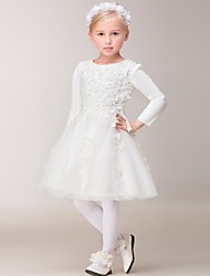 A-line Knee-length Flower Girl Dress - Tulle Long Sleeve Jewel with Appliques