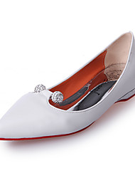 Women's Shoes Leatherette Spring / Fall Comfort / Square Toe Flats Outdoor / Office & Career / Casual Low Heel Crystal