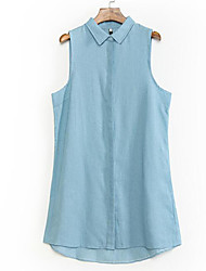 Mulheres Malha Íntima Happy-Hour Simples / Moda de Rua Verão,Sólido Azul Poliéster Colarinho de Camisa Sem Manga Fina
