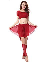 Dança do Ventre Roupa Mulheres Actuação Elastano Cristal/Strass 2 Peças Manga Curta Natural Top / Saia Top:42cm Skirt:36cm