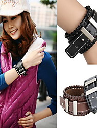 European and American punk wide leather cuff bracelet personalized braided leather
