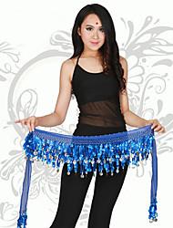 Dança do Ventre Lenços de Quadril para Dança do Ventre Mulheres Actuação Chifon Moedas de Ouro / Paetês 1 Peça Sem Mangas CaídoXale de