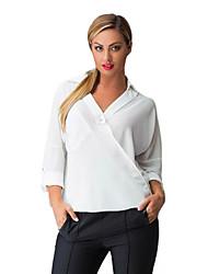 Women's Solid Blue / White / Black Blouse,V Neck Long Sleeve
