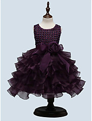 Girl's Party/Cocktail Solid Dress,Polyester All Seasons Purple