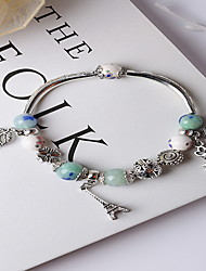 Antique Silver Blue Beads Strand Bracelet