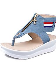 Damen-Sandalen-Lässig-Leinwand-Keilabsatz-Sandalen-Blau
