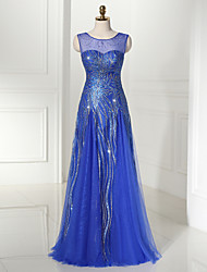 Formal Evening Dress A-line Scoop Floor-length Tulle / Sequined with Appliques / Pattern / Print / Sequins