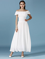 Women's Casual/Daily Simple Sheath / Chiffon Dress,Solid Strapless Maxi Short Sleeve White Cotton