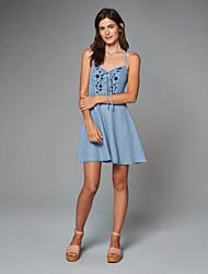 Damen Lose / Jeansstoff Kleid-Lässig/Alltäglich Einfach Stickerei Gurt Übers Knie Ärmellos Blau Kunstseide Sommer