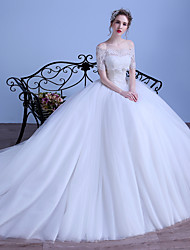 Ball Gown Wedding Dress Court Train Sweetheart Tulle with Lace