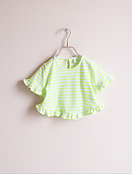 Girl's Casual/Daily Striped Blouse,Cotton Spring / Fall Green / Pink