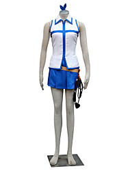 Inspired by Fairy Tail Lucy Heartfilia Anime Cosplay Costumes Cosplay Suits Color Block White / Blue Sleeveless Top / Skirt