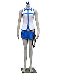 Inspiriert von Fairy Tail Lucy Heartfilia Anime Cosplay Kostüme Cosplay Kostüme Einfarbig Weiß / Blau Ärmellos Top / Rock