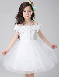 A-line Knee-length Flower Girl Dress - Cotton / Lace / Satin / Tulle Sleeveless Off-the-shoulder with