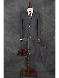 Suits Tailored Fit Peak Single Breasted One-button Polyester Gingham 3 Pieces Dark Gray Straight Flapped