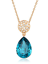 2016 Classic 18k God Plated Alloy Blue Water Drop Zircon Party Necklaces & Pendants For Women