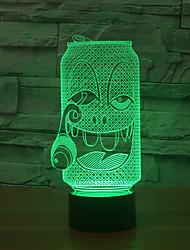 бутылка 3d визуальный эффект USB LED свет ночи изменения цвета свет ночи
