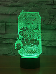 a garrafa de efeito 3d usb visuais levou noite luz da noite luz que muda de cor