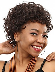 Cheap Fake Hair Wig Kinky Curly Short Heat Resistant Dark Brown Synthetic Wigs