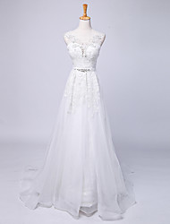 Ball Gown Wedding Dress Court Train V-neck Lace / Satin / Tulle with Beading / Lace / Sash / Ribbon