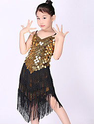 Latin Dance Children Dress 1 Piece Polyester Sleeveless Long Tassel Gold Sequins Black