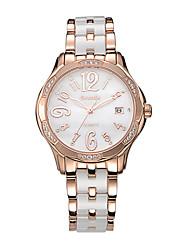 Женские Модные часы Кварцевый Защита от влаги Керамика Группа Белый марка
