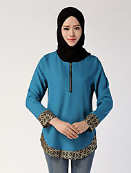Damen Druck Einfach Ausgehen T-shirt,Rundhalsausschnitt Frühling Langarm Blau / Rot / Schwarz Polyester Mittel