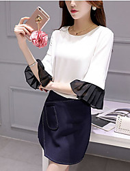 Women's Going out Simple Spring Set,Color Block Round Neck ¾ Sleeve White Polyester Thin