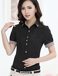 Damen Solide Einfach Lässig/Alltäglich T-shirt,Ständer Sommer Kurzarm Rot / Weiß / Schwarz / Grau Polyester Dünn