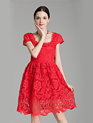 Women's Going out Street chic A Line Dress,Jacquard Square Neck Knee-length Short Sleeve Red / Black Polyester Summer