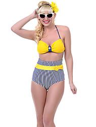 Large Size High Waist Yellow Stripe Bikini Swimwear Sexy Female Swimsuit