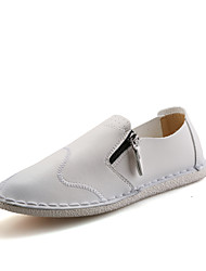 Men's Shoes Leather Wedding / Outdoor / Casual Flats Wedding / Outdoor / Casual Walking Flat Heel Chain Black / White