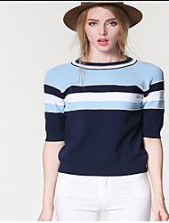 Women's Solid Blue Cardigan,Sexy / Street chic Short Sleeve