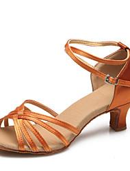 Women's Dance Shoes Satin Satin Latin / Modern Heels Stiletto Heel Practice / Indoor Brown / Gold