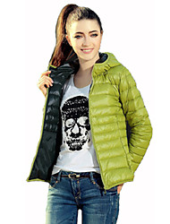 Women's Solid Blue / Red / Black / Brown / Green Padded Coat,Active Hooded Long Sleeve