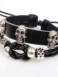 Black Skull Layered Leather Bracelet
