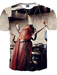 Print-Informeel-Heren-Polyester-T-shirt-Korte mouw Beige
