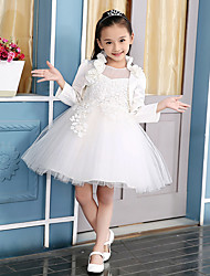 Ball Gown Knee-length Flower Girl Dress - Cotton / Satin / Tulle 3/4 Length Sleeve Jewel with Appliques / Flower(s)