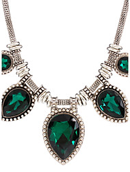Women's Choker Necklaces Gemstone Zircon Alloy Drop Fashion White Black Green Blue Jewelry Daily Casual 1pc