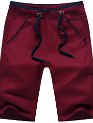 Men's Solid Casual Shorts,Cotton Blue / Red