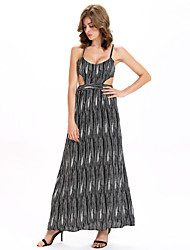 Women's Club Sexy A Line / Swing Dress,Striped Strap Maxi Sleeveless Gray Cotton / Linen Summer