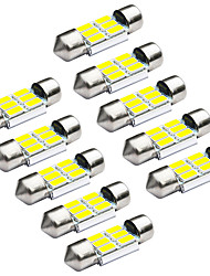 Jiawen 10pcs/lot Festoon 31mm 1.2W 6 x 5730 SMD White LED Car Signal Lights (DC 12V)