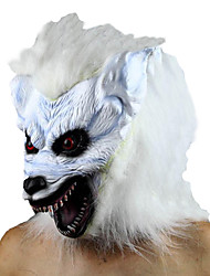 White Horrific Wolf Head Latex Halloween Mask