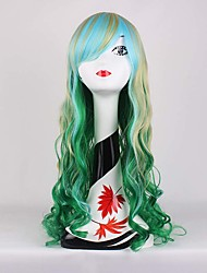 Charming Light Green Gradient Mixed Blonde Wave Beautiful Anime Cosplay Full Synthetic Wigs