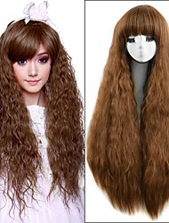 36Inch Medium Brown Long Kinky Curly Heat Resistant Women Synthetic Wig Cute Lolita Natural Hair Loose Curl Women's Wigs